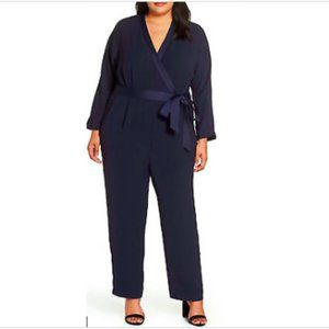 Eliza J Surplice Jumpsuit Plus Navy Satin V Neck